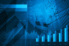 Financial and business chart and graphs. On tower and map background Stock Photo