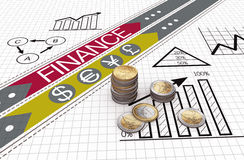 Financial business charts and coins. Euro coins with financial charts and graphs Stock Images