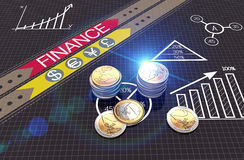 Financial business charts and coins Stock Photography