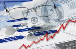 Financial and business charts and graphs Royalty Free Stock Image