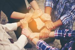 Financial Business Conference And work unity. Teamwork is good. stock photo