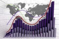 Financial and business graph. On world map background Stock Photos