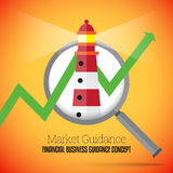 Financial Business Guidance. Vector illustration of financial business guidance concept with a lighthouse and graphic arrow on a magnifier Stock Photography