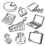 Financial & Business Icon Set. An icon set of finanical and business elements in sketch style. It contains hi-res JPG, PDF and Illustrator 9 files Stock Image
