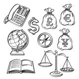 Financial & Business Icon Set. An icon set of finanical and business elements in sketch style. It contains hi-res JPG, PDF and Illustrator 9 files Royalty Free Stock Photography