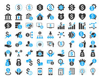 Financial Business Icon Set. Financial business glyph icon set. Style is bicolor flat symbols, blue and gray colors, rounded angles, white background Stock Photography