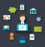 Financial and business icons, flat design Royalty Free Stock Images