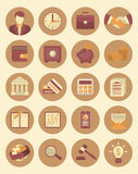Financial and Business Icons. Set of 20 modern flat stylized icons suitable for financial and business themes Stock Photography