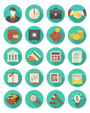 Financial and Business Icons Turquoise Set. Set of 20 modern flat stylized icons suitable for financial and business themes  in modern flat style with long Stock Images