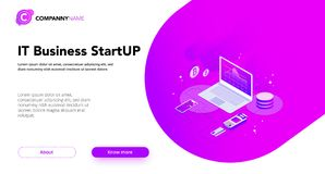 Financial Business isometrics banner purple. Financial Business isometrics banner with infographics illustrations Royalty Free Stock Images