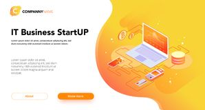 Financial Business isometrics banner orange. Financial Business isometrics banner with infographics illustrations Royalty Free Stock Images
