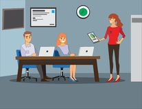 Businesswoman giving presentation to her colleagues in office. vector illustration