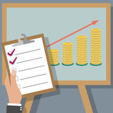 Financial business plan. Business man holding report check list board on projector screen with golden coins. vector illustration in flat design.  infographics Royalty Free Stock Image