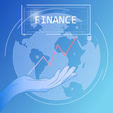 Financial business poster. Vector background with the image of hands and the globe. Business poster with graphic inserts. The graph of growth Finance Stock Images