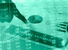 Financial business report paper charts and stock market concept Royalty Free Stock Image