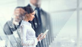 Financial business services. Mixed media royalty free stock photography