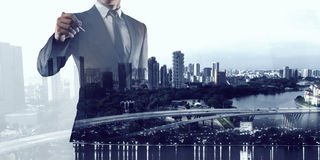 Financial business services. Mixed media Royalty Free Stock Images