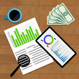 Financial Business Statistics. Economy annual data document, analytic infograph statistical, vector illustration Royalty Free Stock Image