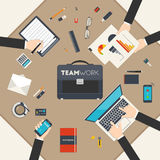 Financial and business teamwork. Flat style modern design concept of teamwork. Icon set of business work flow items and elements, office things and other objects Stock Photography