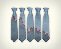 Financial Business Ties. 5 blue ties on a plain background, with patterns that shows a graph with downward statistical information Royalty Free Stock Images