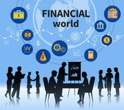 Financial business world concept composition. Financial business world successful management concept defining symbols composition banner with profitable teamwork Royalty Free Stock Image