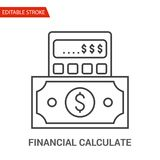 Financial Calculate Icon. Thin Line Vector Illustration. Adjust stroke weight - Expand to any Size - Easy Change Colour - Editable Stroke - Pixel Perfect Stock Image