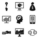 Financial calculation icons set, simple style. Financial calculation icons set. Simple set of 9 financial calculation vector icons for web isolated on white Stock Photos