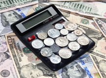 Financial calculations (calculator and money) Royalty Free Stock Photography