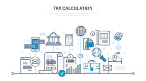 Financial calculations, counting profit, income, taxes, data analytics, planning, report. Royalty Free Stock Images