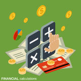 Financial calculations vector concept. Financial calculations flat 3d isometric vector concept illustration Royalty Free Stock Image