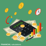 Financial calculations vector concept. Financial calculations flat isometric vector concept illustration Stock Photo