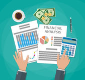 Financial calculations. Working process Stock Photos