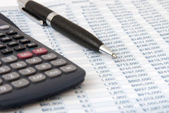 Financial calculator Stock Photography