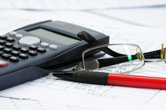 Financial calculator Stock Images