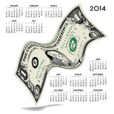2014 financial calendar. With curvy American dollar bill on white background Royalty Free Stock Images