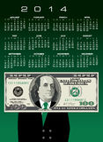 2014 financial calendar. Illustration of 2014 calendar with portrait of Benjamin Franklin on 100 dollar bill wearing suit Royalty Free Stock Photos