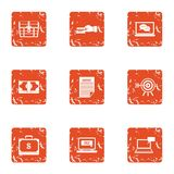 Financial capacity icons set, grunge style. Financial capacity icons set. Grunge set of 9 financial capacity vector icons for web isolated on white background Stock Photo