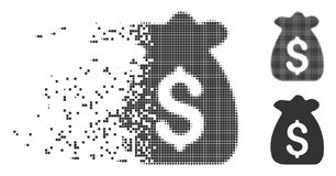 Financial Capital Shredded Pixel Halftone Icon. Dispersed financial capital pixel icon with disintegration effect. Halftone dotted and undamaged whole gray Stock Image