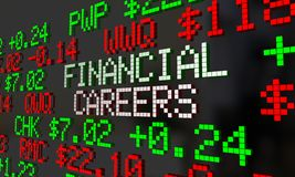 Financial Careers Stock Market Jobs Employment Ticker 3d Illustr. Ation Royalty Free Stock Photos