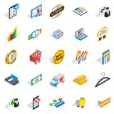 Financial center icons set, isometric style. Financial center icons set. Isometric set of 25 financial center vector icons for web isolated on white background Stock Image