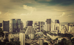 Financial center of Rio de Janeiro vintage view Royalty Free Stock Images