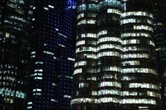 Financial centre in Doha at night, Qatar. QATAR, DOHA, MARCH 20, 2018: Financial centre in Doha at night - capital and most populous city in Qatar, West Bay stock photos