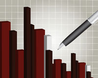 Financial chart. With a pen, Financial report Stock Photo