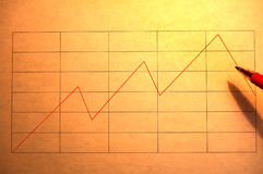 Financial chart. A graph showing rise and falls in red ink and lit from the side Stock Image