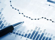 Financial chart. With ball pen stock image