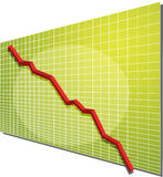 Financial chart. Financial line chart on grid background, going down Royalty Free Stock Photo