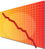Financial chart. Financial line chart on grid background, going down Royalty Free Stock Photography