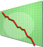 Financial chart. Financial line chart on grid background, going down Royalty Free Stock Image