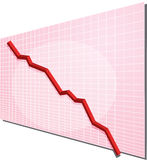 Financial chart. Financial line chart on grid background, going down Stock Image