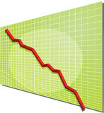Financial chart. Financial line chart on grid background, going down Royalty Free Stock Images